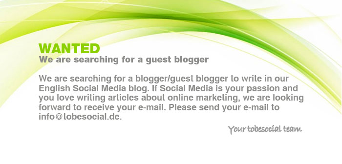 Social Media Jobs We are searching for a blogger/guest blogger to